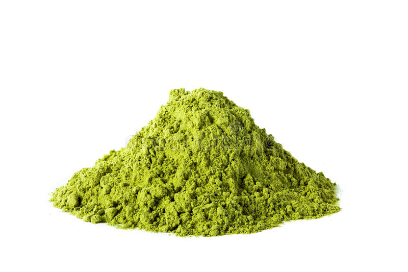 Pó verde do chá do matcha fotografia de stock royalty free