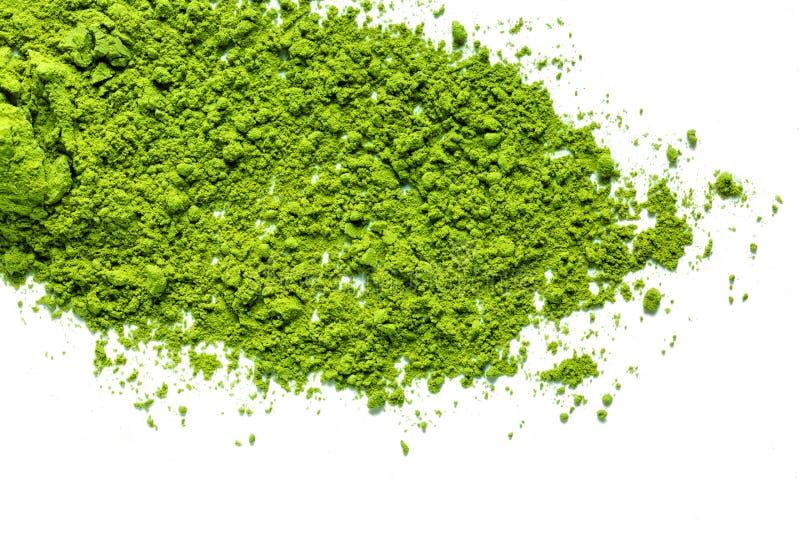 Pó verde do chá do matcha imagens de stock
