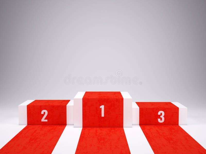 Pódio branco com tapete vermelho para a cerimônia de concessões Pódio, conceito do suporte ilustração stock