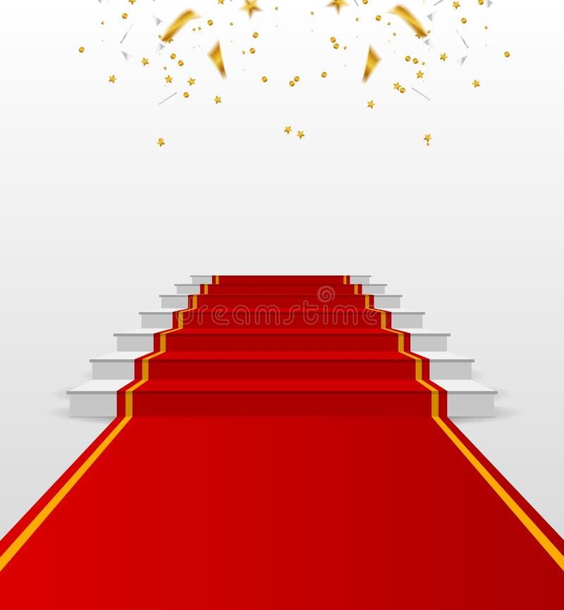 Pódio branco com tapete vermelho suporte ilustração do vetor