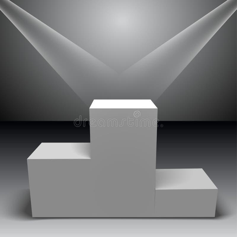 Pódio branco dos vencedores com luzes do feixe Encene para a cerimônia de concessões suporte Projector ilustração stock