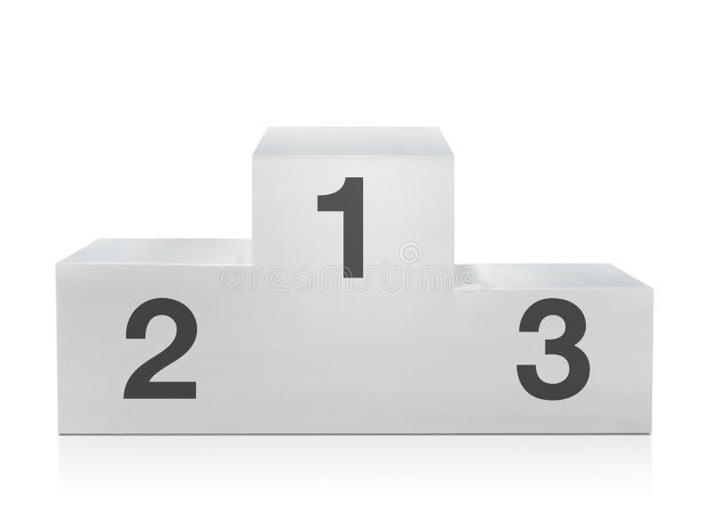 Pódio branco dos vencedores no fundo branco fotografia de stock
