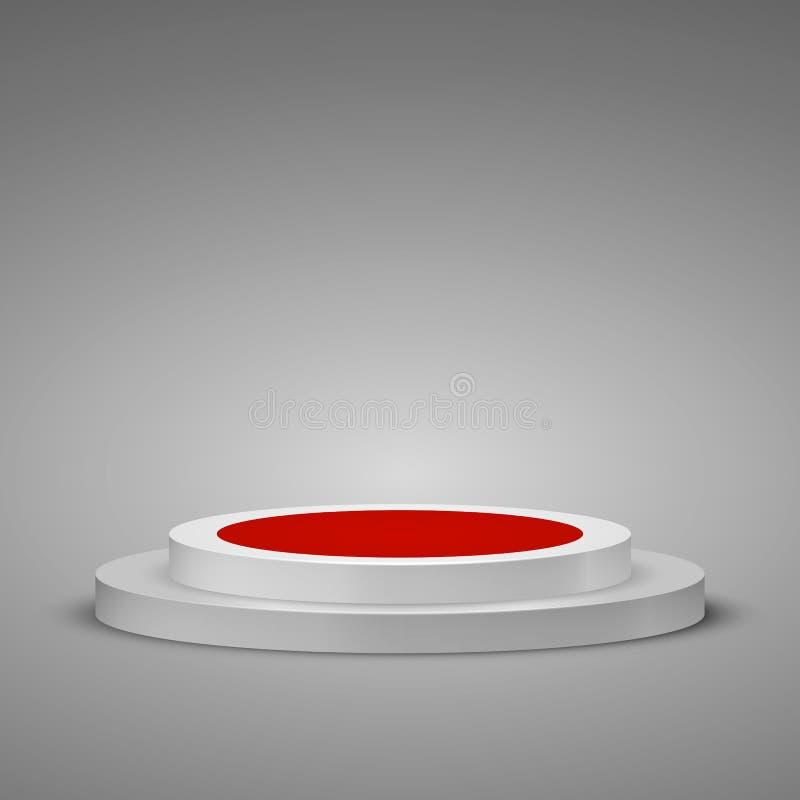 Pódio cilíndrico com tapete vermelho Cena do pódio da fase com uma etapa Ilustração do vetor ilustração stock
