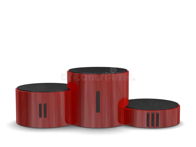 Pódio cilíndrico reflexivo vermelho da vitória dos esportes com numerais romanos pretos. Vista dianteira ilustração stock