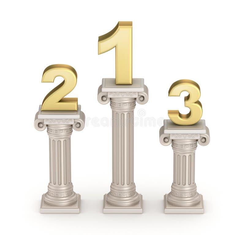 Pódio: Coluna doric antiga do estilo com números ilustração stock