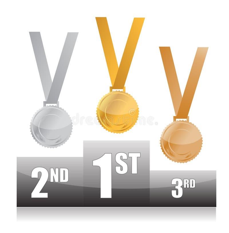 Pódio com as medalhas do ouro, as de prata e as de bronze ilustração do vetor