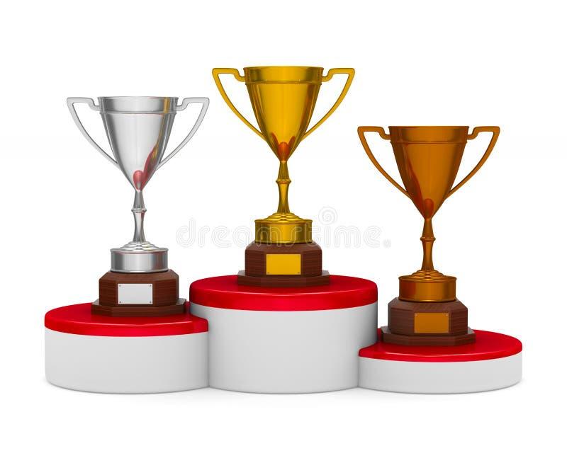 Pódio com o copo do troféu no fundo branco Illustra 3d isolado ilustração royalty free