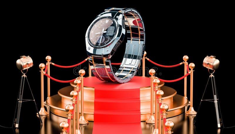 Pódio com o relógio de pulso analógico-numérico para homens, rendição 3D ilustração stock