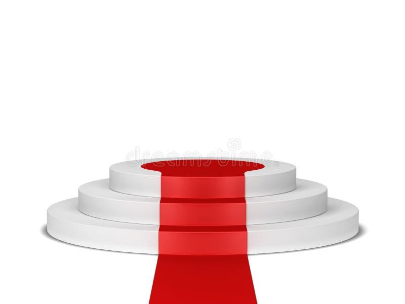 Pódio com tapete vermelho ilustração stock