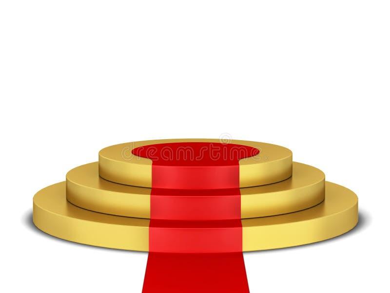 Pódio com tapete vermelho ilustração do vetor