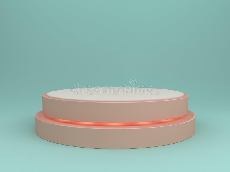 Pódio cor-de-rosa redondo do sumário com os projetores no fundo azul fotos de stock
