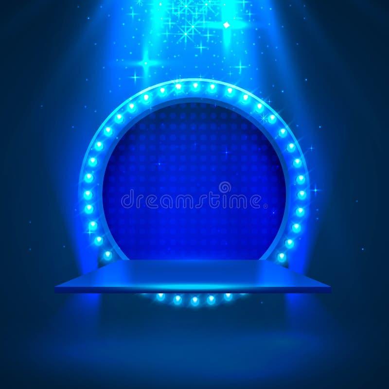 Pódio da fase com iluminação ilustração stock