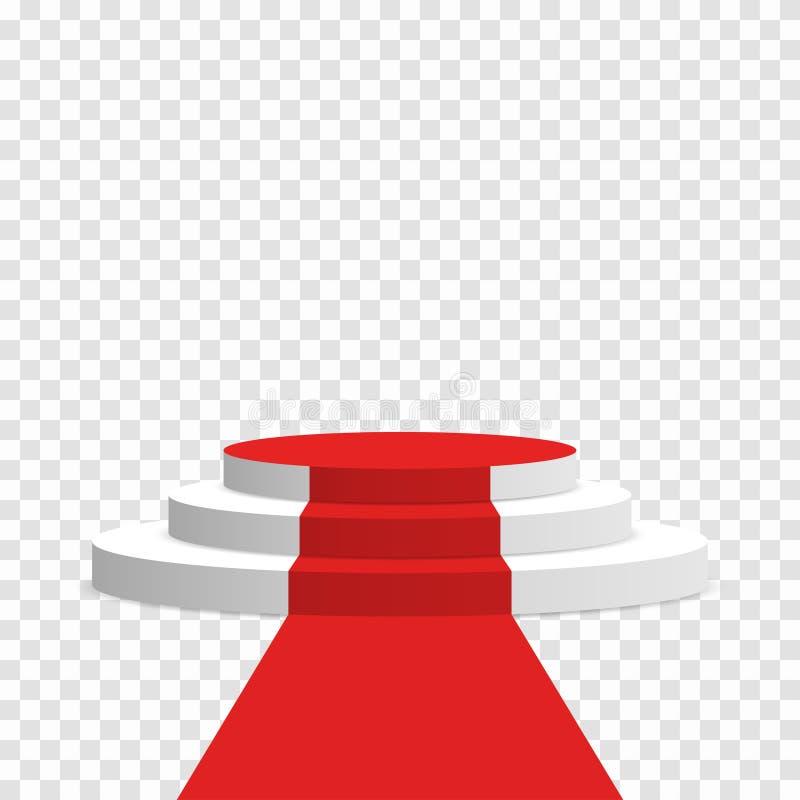 Pódio da fase com tapete vermelho Suporte redondo branco com as escadas isoladas no fundo ilustração royalty free