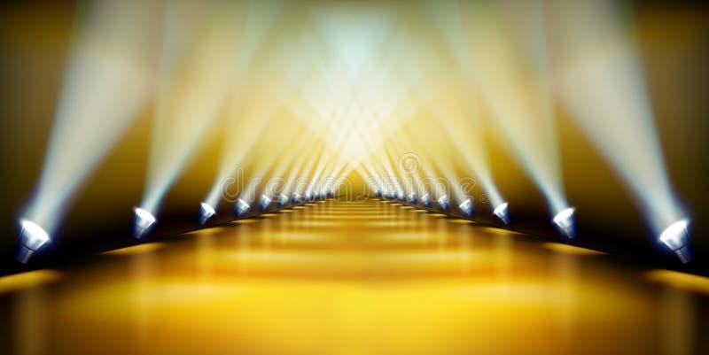 Pódio da fase durante a mostra Tapete dourado Ilustração do vetor ilustração stock