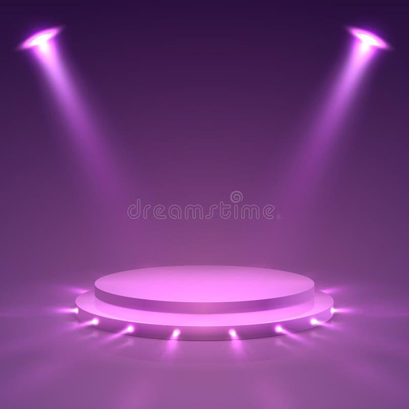 Pódio da fase Suporte da apresentação da cerimônia com projetores Mancha a concessão, vetor do pódio do campeonato da vitória ilustração royalty free