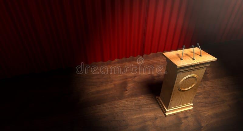 Pódio de madeira na fase de Curtained ilustração royalty free