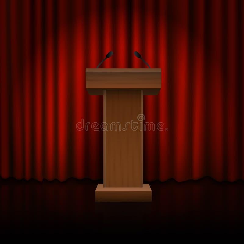 Pódio de madeira no assoalho com cortinas vermelhas Vetor ilustração royalty free