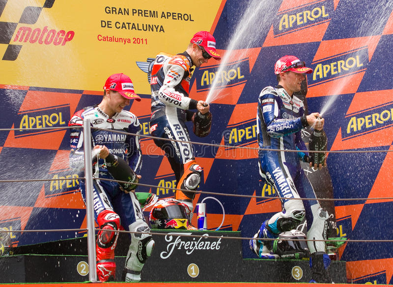 Pódio de MotoGP Prix grande de Catalonia imagem de stock