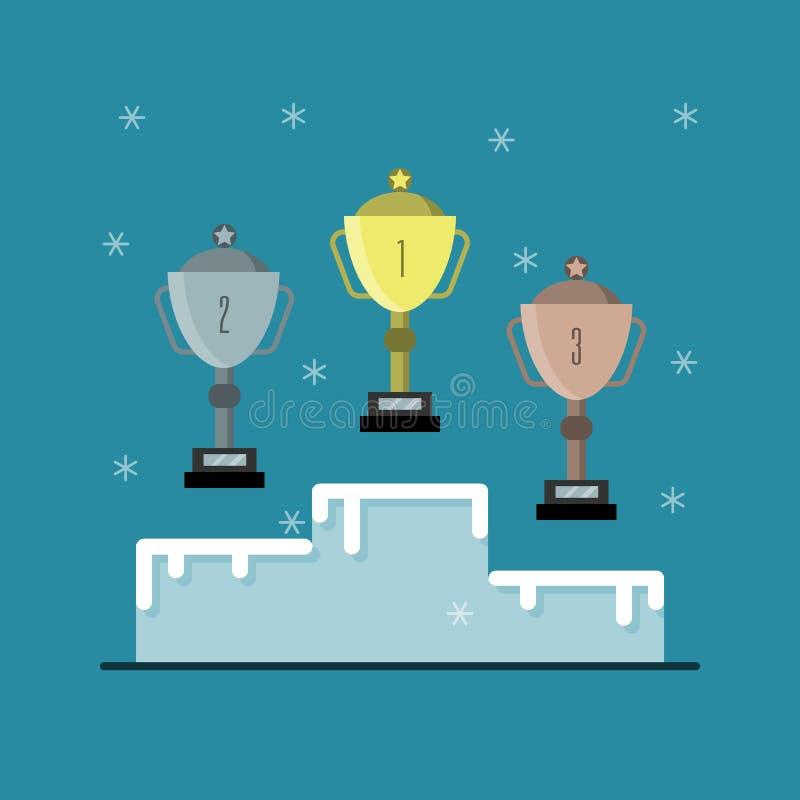 pódio do esporte para vencedores com copos imagem de stock royalty free