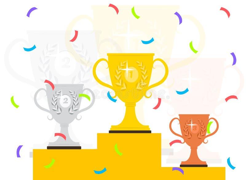 Pódio do vencedor com confetes ilustração do vetor