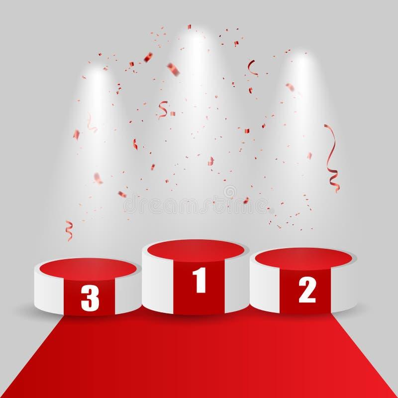 Pódio dos vencedores com tapete vermelho e confetes Encene para a cerimônia de concessões suporte Projector 3d Ilustração do veto ilustração stock