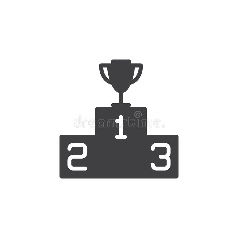 Pódio dos vencedores com vetor do ícone do troféu, sinal liso enchido, pictograma contínuo isolado no branco ilustração royalty free