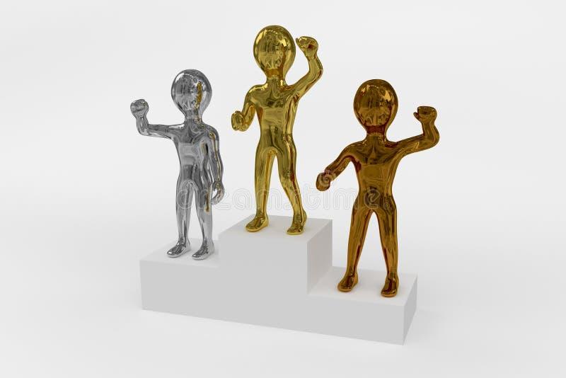 Pódio dos vencedores do ouro, da prata e do bronze ilustração stock