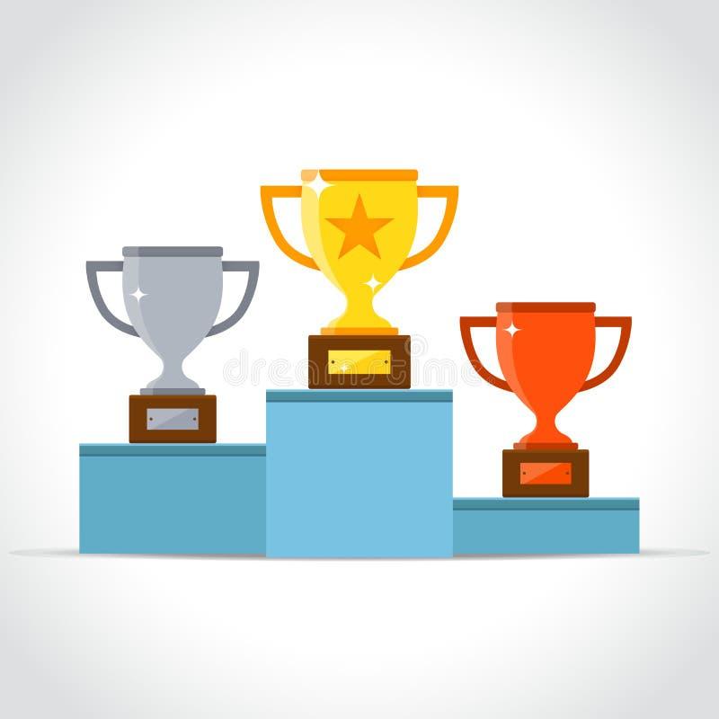 Pódio dos vencedores no fundo branco ilustração royalty free