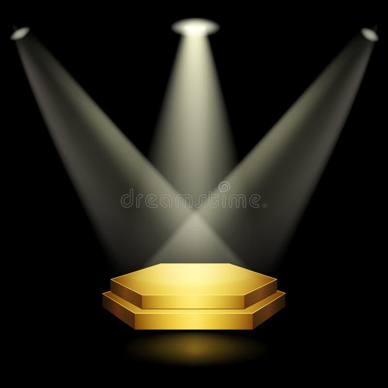 Pódio dourado ilustração do vetor