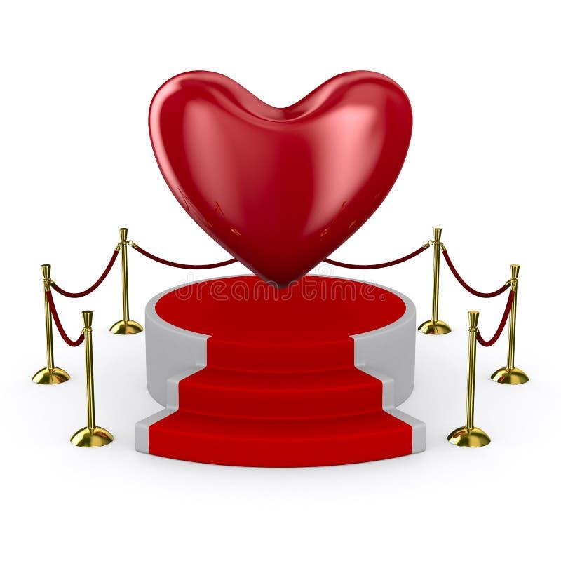 Pódio e coração no fundo branco ilustração royalty free