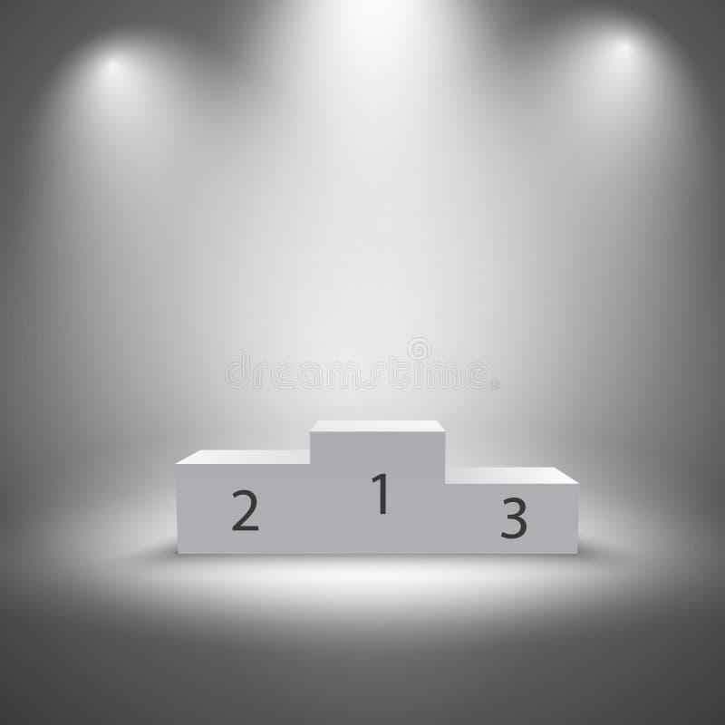Pódio iluminado dos vencedores dos esportes ilustração do vetor