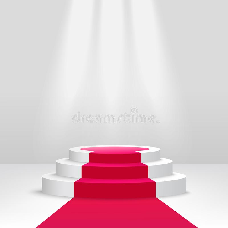 Pódio ou suporte com vetor da cena 3d do projetor isolado no fundo branco ilustração royalty free