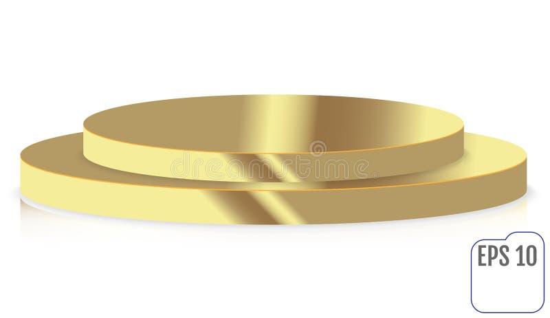 Pódio redondo da fase do ouro, suporte isolado no fundo branco ilustração do vetor