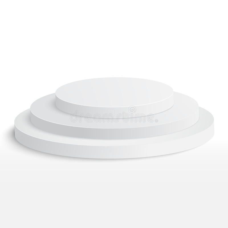 Pódio redondo da fase, suporte isolado no fundo branco ilustração royalty free