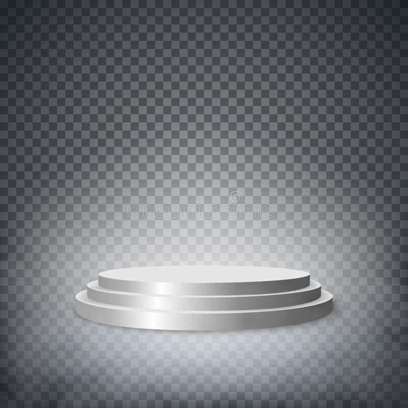 Pódio redondo da fase, suporte isolado no fundo branco Ilustração do vetor ilustração royalty free