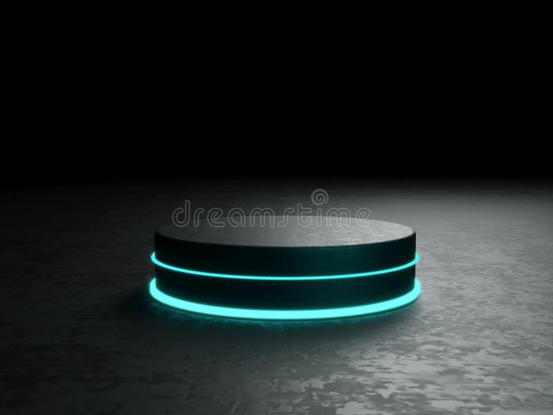 Pódio, suporte ou plataforma redonda, iluminados por projetores conduzidos Ilustração Lightpodium brilhante lugar da propaganda foto de stock