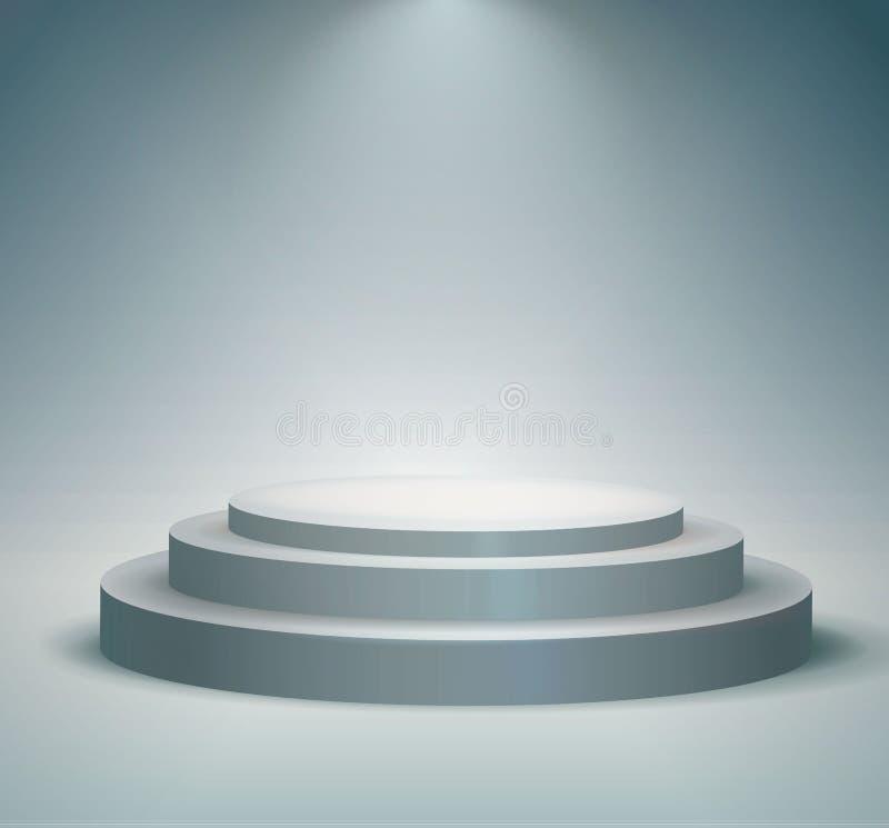 Pódio, suporte ou plataforma redonda iluminados por projetores no fundo branco Fase com luzes cênicos Ilustração do vetor fotografia de stock royalty free