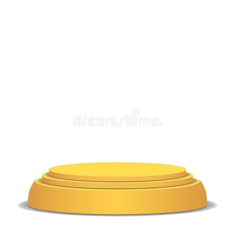Pódio vazio do vetor Isolado no fundo branco Fase 3D amarela Plataforma realística Conceito redondo do suporte ilustração royalty free