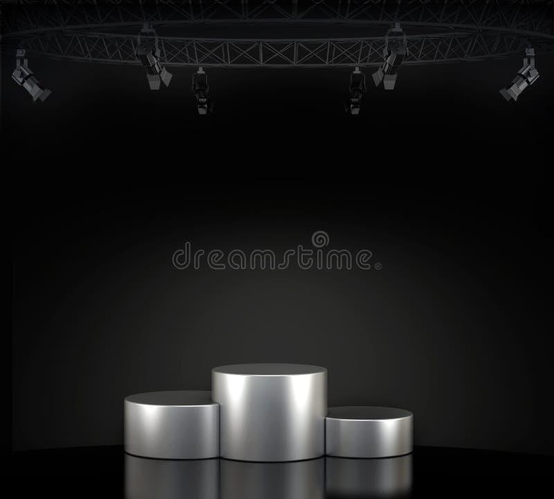 Pódio vazio iluminado da fase ilustração do vetor