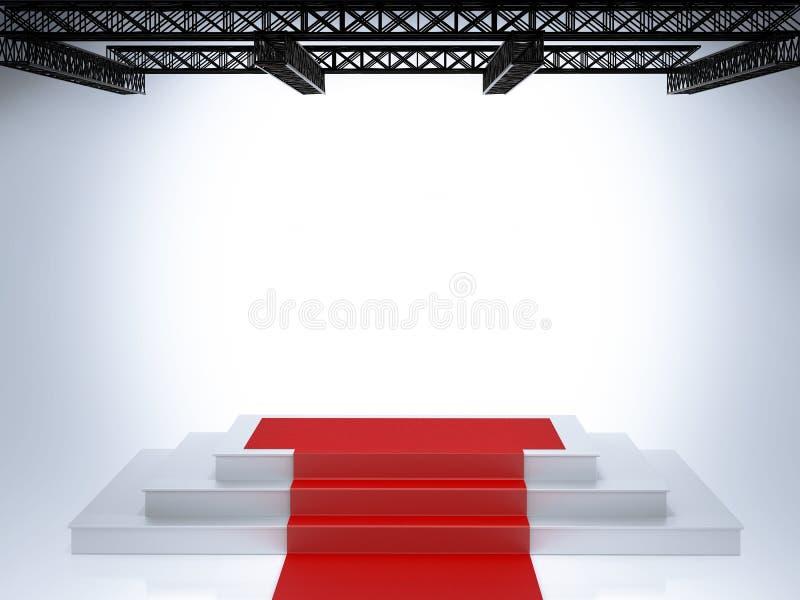 Pódio vazio iluminado da fase ilustração stock