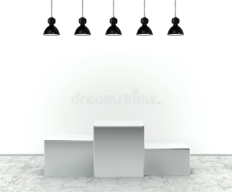 Pódio vazio iluminado da fase ilustração royalty free