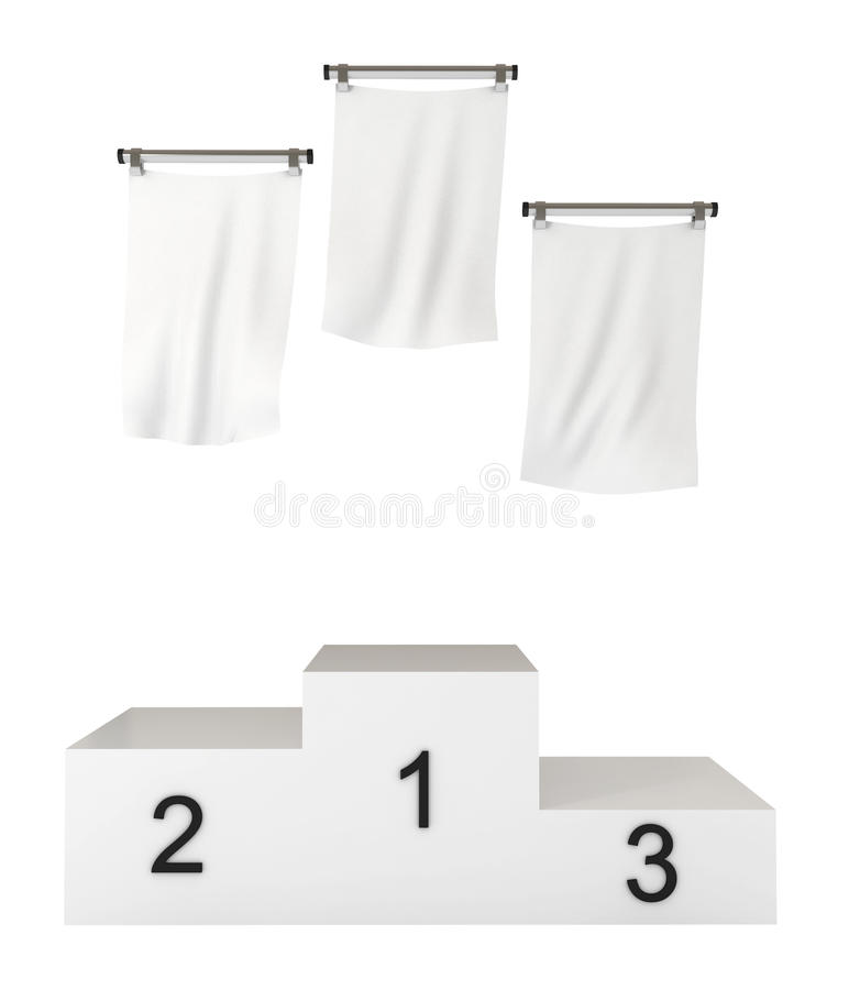 Pódio, vencedores, com bandeiras em branco, trajeto de grampeamento ilustração do vetor