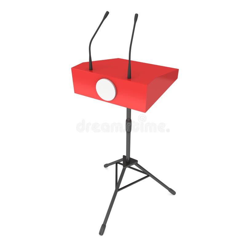 Pódio vermelho do orador no tripé ilustração do vetor
