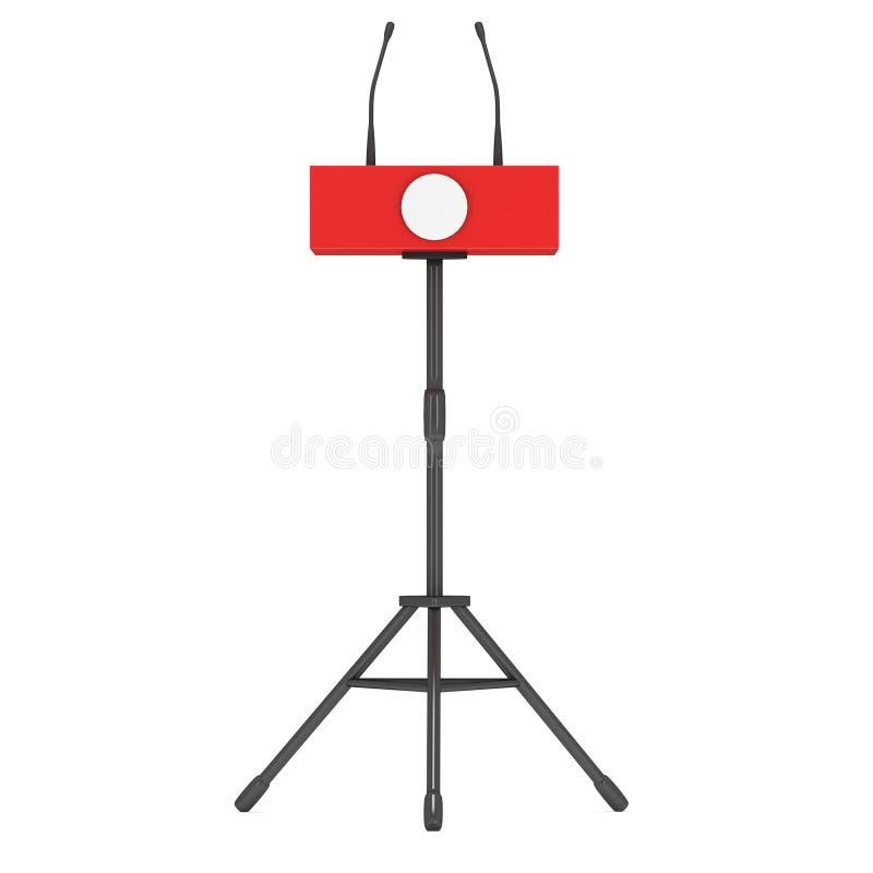 Pódio vermelho do orador no tripé ilustração royalty free