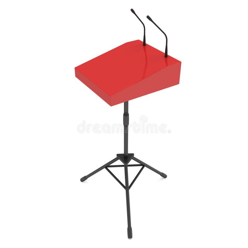Pódio vermelho do orador no tripé ilustração stock