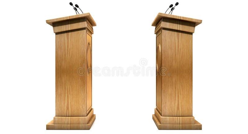Pódios de oposição do debate ilustração stock