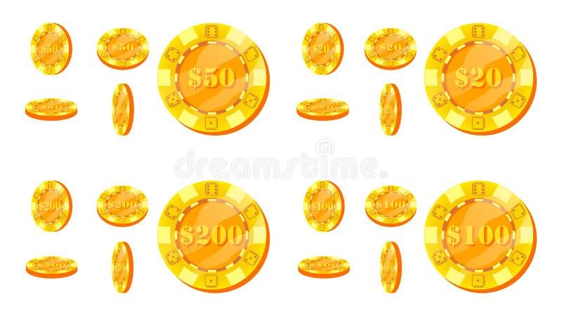 Póker Chips Vector Plano, sistema de la historieta 20, 50, 100, muestra de dólar 200 Iconos del premio Juego de póker del oro Chi ilustración del vector