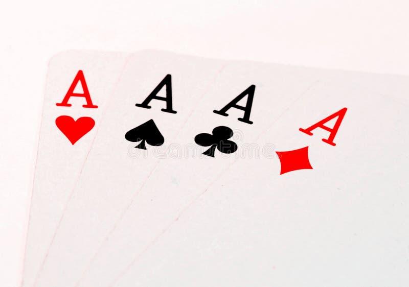 Póker de cuatro naipes de los as fotografía de archivo libre de regalías