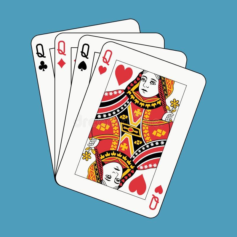 Download Póker De Las Reinas En Azul Ilustración del Vector - Ilustración de ilustración, veintiuna: 7150636