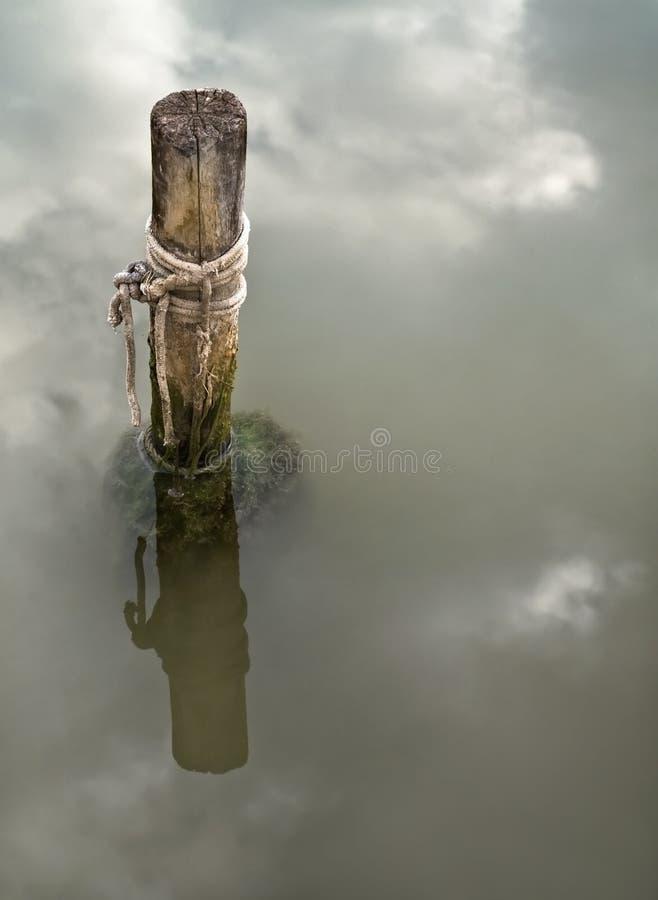 Pólo de madeira em um lago imagem de stock